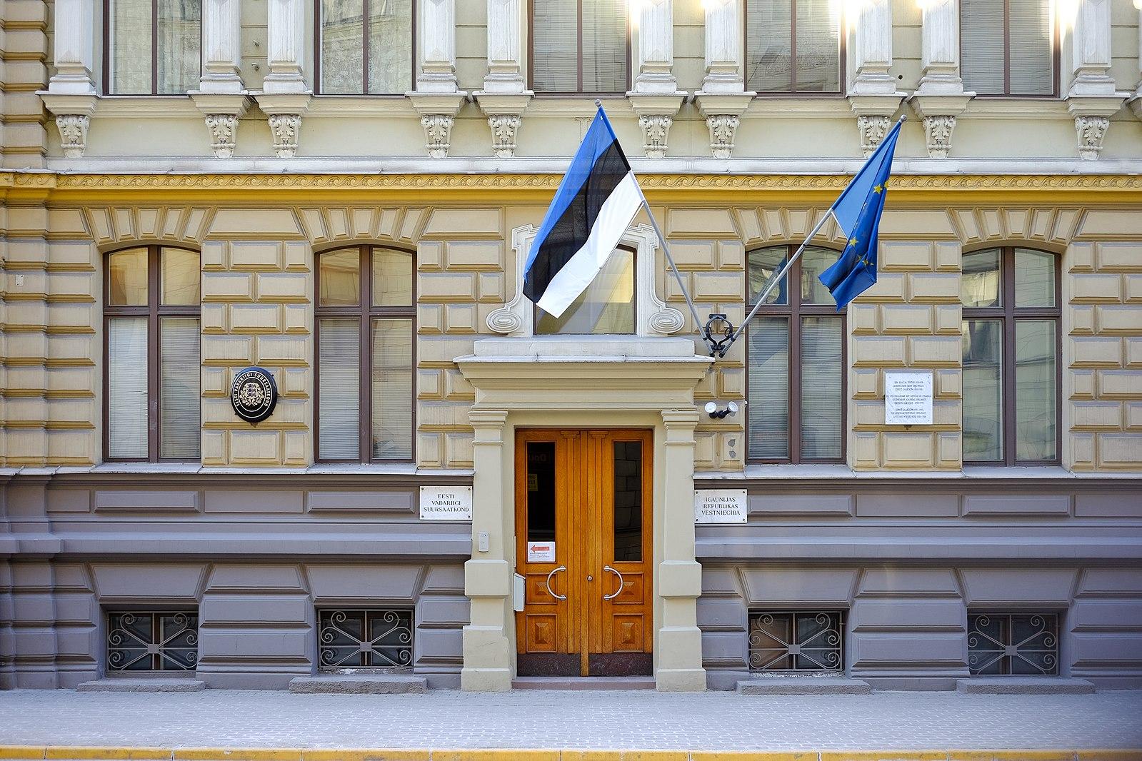 Flags flying outside Estonia's embassy in Latvia