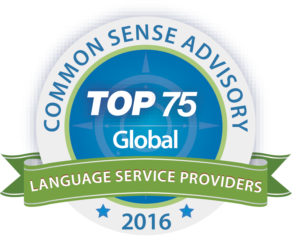2016 Top 75 Global Language Service Providers award badge
