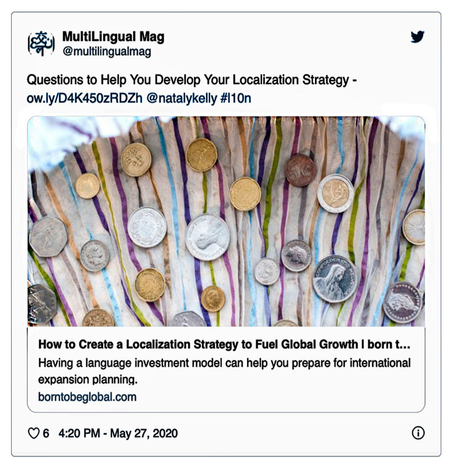 Tweet about Localization Strategy