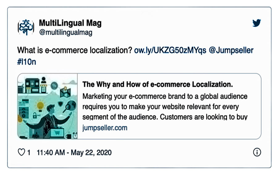 Tweet about e-commerce localization