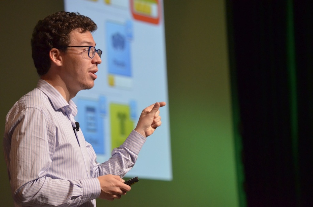 Luis Von Ahn, co-founder of language learning app Duolingo speaks at a conference in Mexico City.