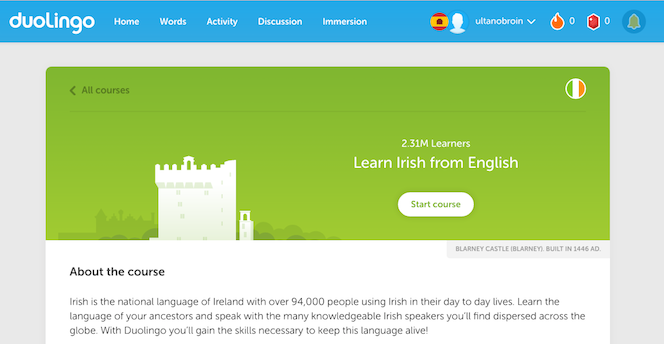 Over 2.3 million users have selected Irish as the language they want to learn on Duolingo