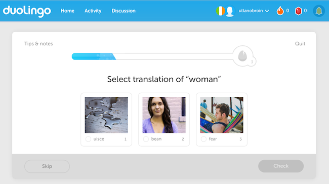 Duolingo Irish language lesson in action