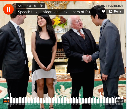The Irish President's speech to Duolingo's Irish volunteers and about the Irish language generally is on SoundCloud