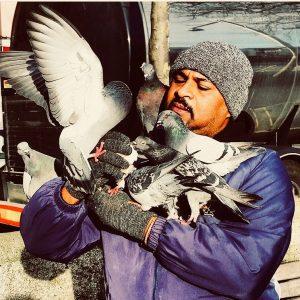 Pigeon Man on Dublin's Liffey Boardwalk (Image source: Ultan O'Broin)