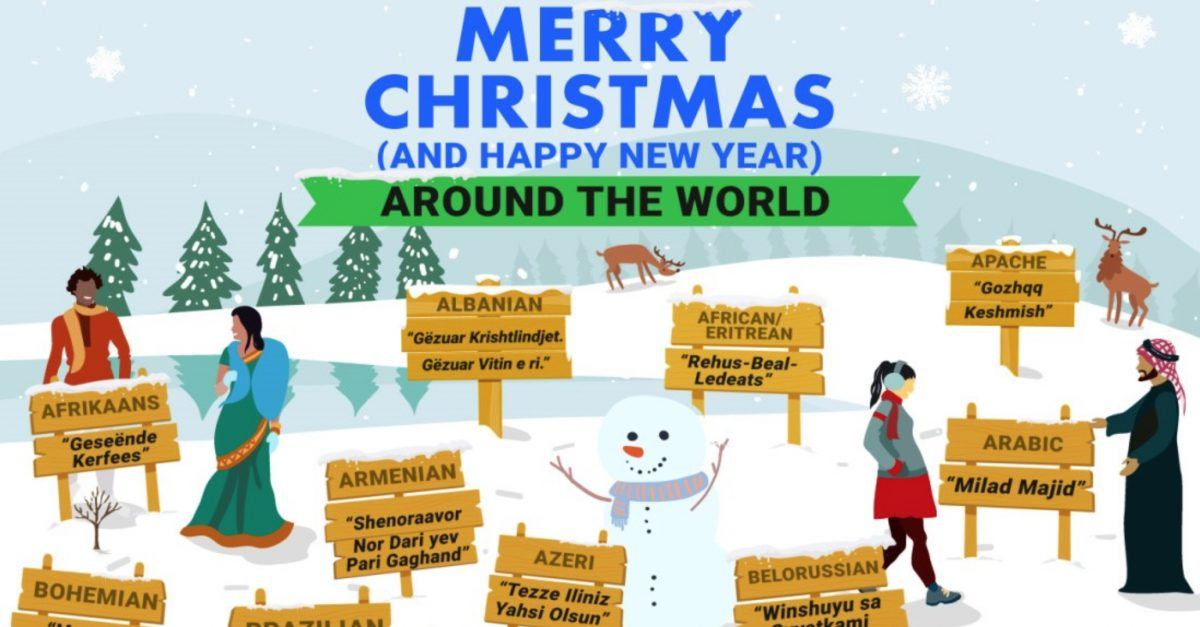 Merry Christmas Around The World Multilingual