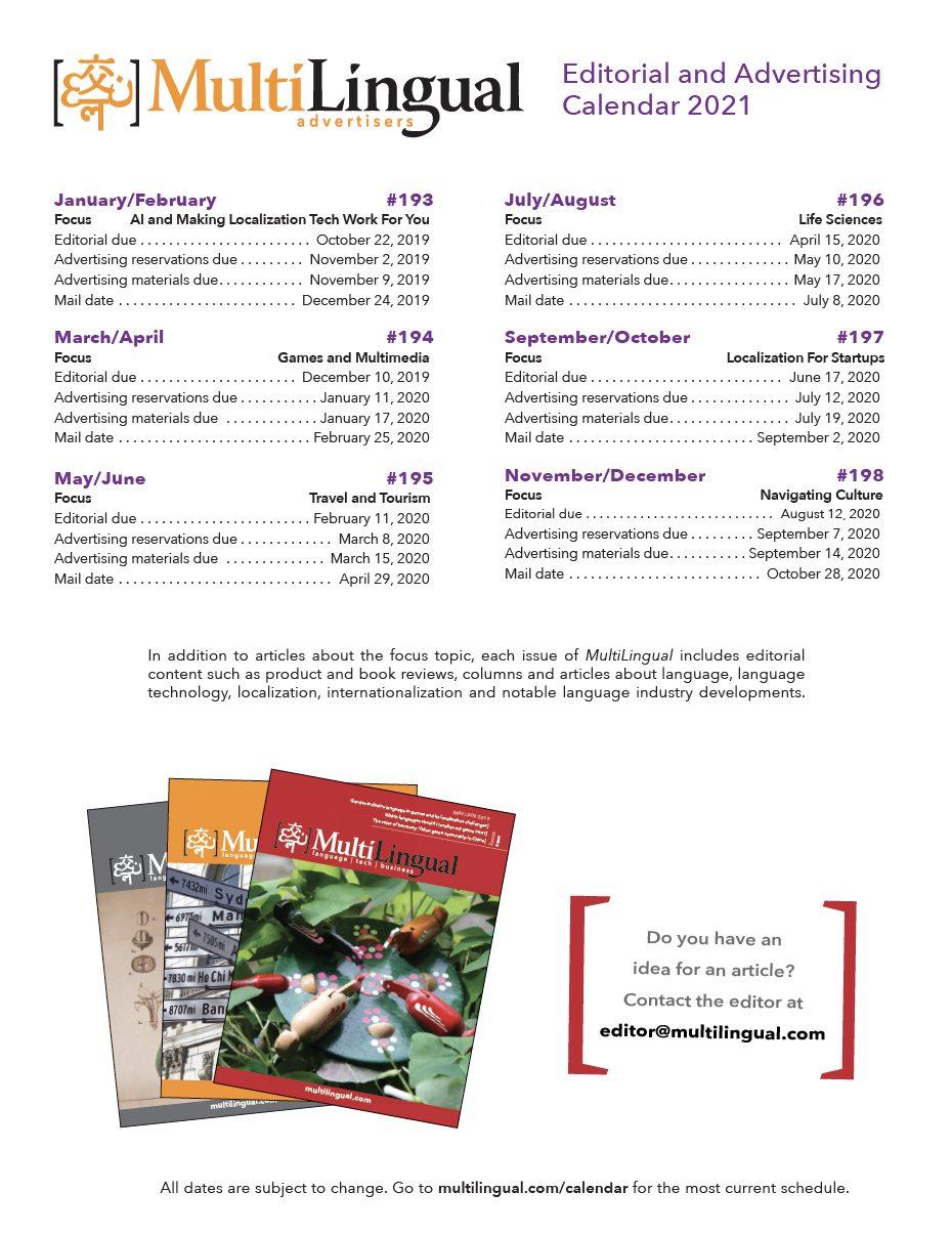 Editorial and advertising calendar
