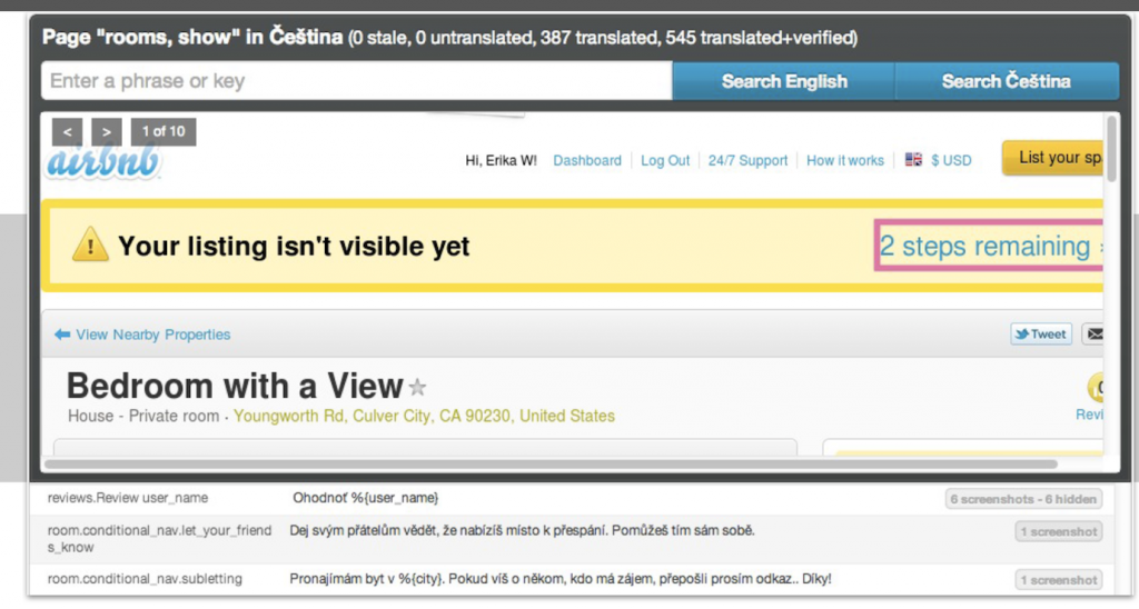 Screen shot capture in tool for translator context