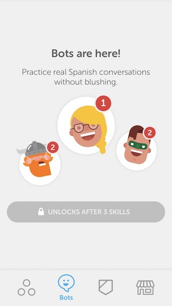 Duolingo user experience now includes bots. A great conversational UI!