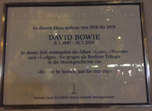 Plaque outside Hauptstraße 155, Berlin commemorating David Bowie. (Image: Ultan Ó Broin)