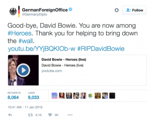 German Foreign Office Tweet recognizing David Bowie's contribution to the end of Der Mauer (The Berlin Wall)