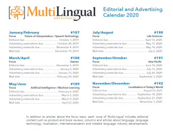 Editorial and advertising calendar