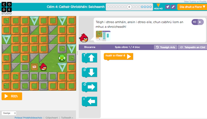 Learning to code as Gaeilge thanks to Hour of Code