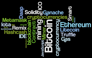 Cryptocurrency word cloud: Has language itself been disrupted by innovation? (Wordle by Ultan Ó Broin)