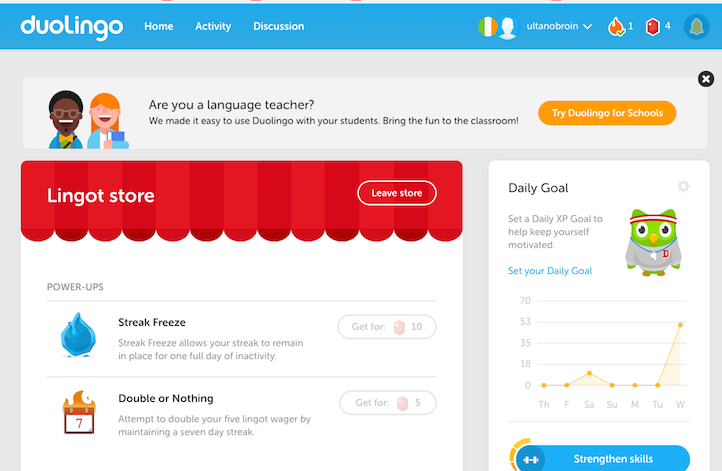 Duolingo language learning options. Duolingo also offers gamfication and social ventures to the experience of learning Irish.