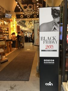 Black Friday signs in Florence on both multinational chains and locally owned and operated stores. Black Friday signs everywhere to be seen in Florence. Image: Ultan O'Broin