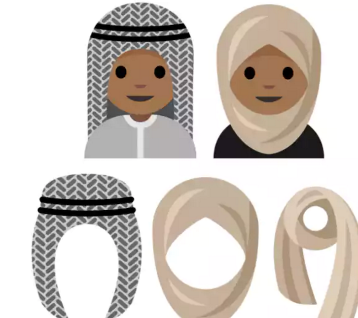 Proposed headscarves emoji icons. Male and female wearers are represented.