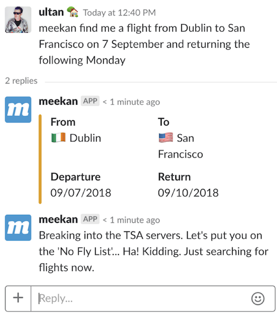 Meekan scheduling robot on Slack (Image by Ultan O'Broin)