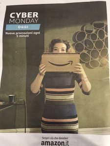 Amazon Italy Cyber Monday advertisement on the back page of La Repubblica of Monday, 28-November-2016. Image: Ultan Ó Broin