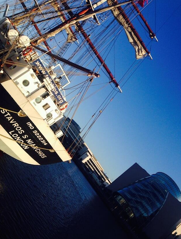 The Stavros S Niarchos came to Dublin's River Liffey in June, 2014. So did Localization World at the Dublin Convention Centre (in the background).