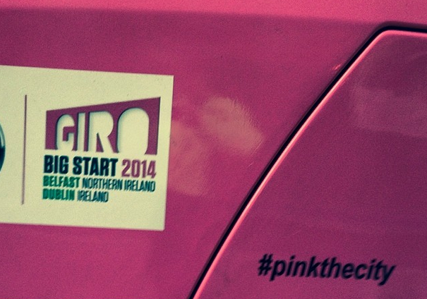 #pinkthecity hashtag seen on Dublin City Council street cleaning vehicle, advertising the start of the Giro in Ireland.