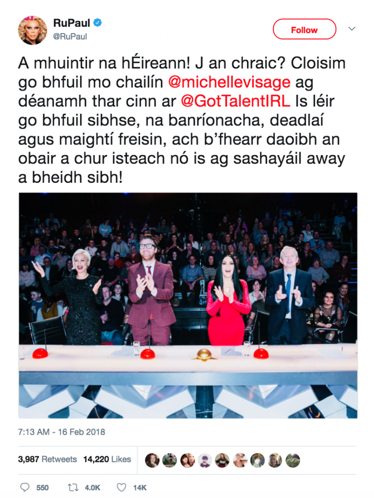 RuPaul tweets in Irish. A mighty and deadly Irish language act in a good way!