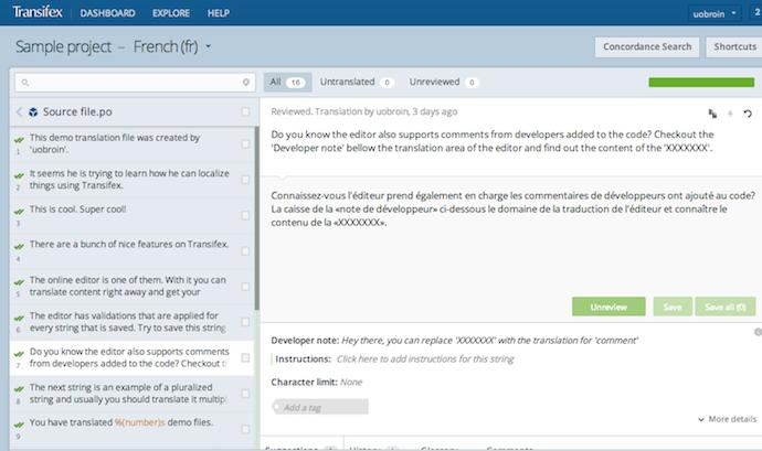Transifex online translation editor.